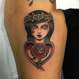 Pretty Flower girl tattoo by Giuseppe Messina #Gypsy #Girl #GiuseppeMessina #flower