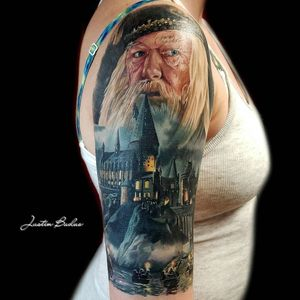 #dumbledore #harrypotter by @artofbuduo at Studio 31 Tattoos in Worcester, Massachusetts.