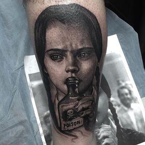 Wednesday Addams tattoo #NicoNegron #blackandgrey #wednesdayaddams #realistic