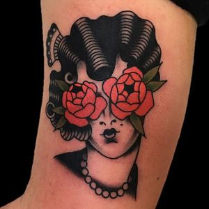 Rose Tattoo by Dustin Stemen #rose #lady #ladyhead #traditionalrose #redrose #roses #classicrose #classic #traditional #DustinStemen