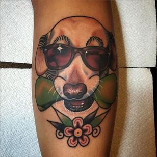 Old Boy by Phil DeAngulo (via IG-midwestphil) #dog #pet #sunglasses #flower #snaggletooth #animal #color #traditional #bold #PhilDeAngulo