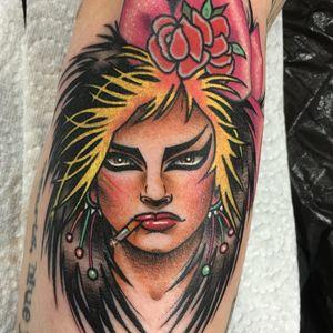 Nina Hagen by Guen Douglas #GuenDouglas #musictattoos #color #newtraditional #NinaHagen #portrait #music #flowers #roses #cigarette #bow #punk #newwave #singer #lipstick #ladyhead #tattoooftheday