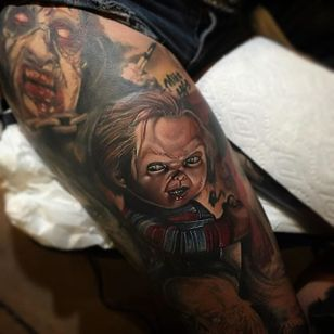 Color realism Chucky by Poch Tattoos. #realism #colorrealism #PochTattoos #Chucky #ChildsPlay