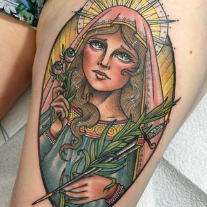 Tattoo by Guen Douglas #GuenDouglas #neotraditional #color #VirginMary #sword #eyes #leaves #palms #light #lady #portrait #pattern