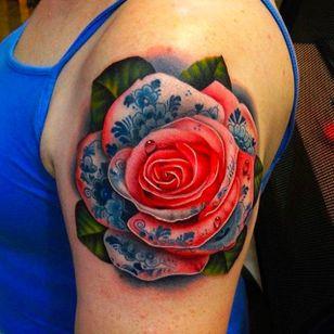 Tattooed Rose Tattoo by Andrés Acosta @Acostattoo #AndrésAcosta #Acostattoo #Rose #Rosetattoo #Rosetattoos #Austin