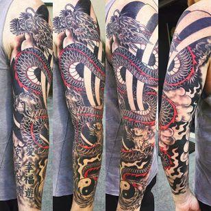Arm sleeve by Jaimie West (via IG -- jaimietattoo) #jaimiewest #dragon #yinyang #sleeve