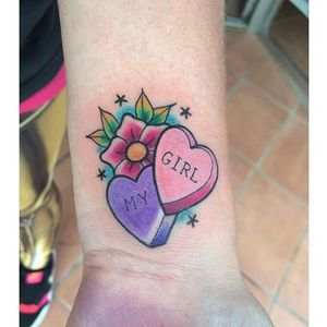Candy heart tattoo by Evil Eve. #candy #sweet #candyheart