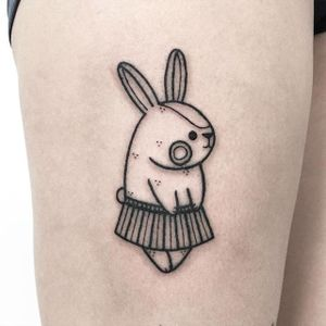 Bunny kawaii tattoo by Hugo. #bunny #rabbit #cute #kawaii #Hugo #bunnytattoo