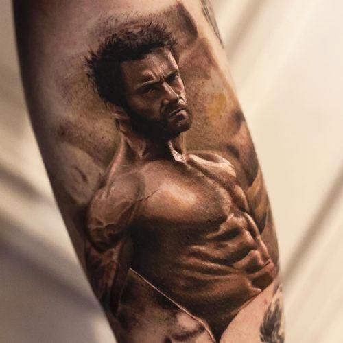 Wolverine tattoo by Inal Bersekov #InalBersekov #movietattoos #blackandgrey #realism #realistic #hyperrealism #Wolverine #xmen #superhero #hero #warrior #abs #hottie #guy #HughJackman #tattoooftheday