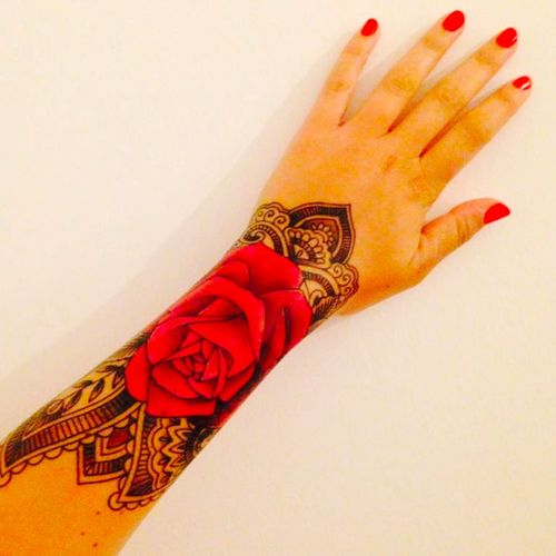 This is my left hand! Cuff tattoo by Adam Frame, UK #cufftattoo #rosetattoo #linework #cuff #rose