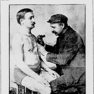 """Elmer Getchell tattooing (right).  """"A Tattooing 'Artist'."""" New York Tribune, October 26, 1902. #Historical #Tattooing #SamOReilly #TattooMachine"""