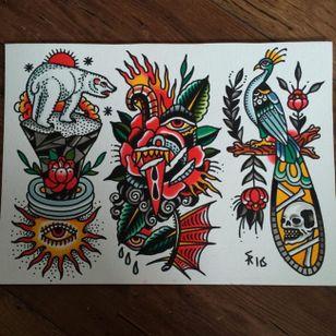 Traditional tattoo flash by Sam Ricketts, photo from Sam's Instagram. #flash #flashsheet #traditional #oldschool #skull #polarbear #peacock