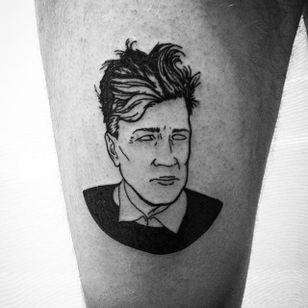 Black lined David Lynch tattoo by Fillipo Garbaccio. #FillipoGarbaccio #filmdirectorstattoo #DavidLynch