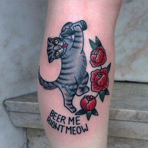 Cats like beer, too. by @iris_lys #IrisLys #cat #cattoo #cattooer