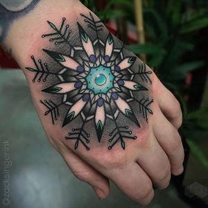Hand jammer by Zack Singer #ZackSinger #color #mandala #tattoooftheday