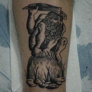 Tattoo by Franco Maldonado #FrancoMaldonado #blackandgrey #illustrative #newtraditional #darkart #surreal #linework #etching #woodblock #human #prehistoric #umbrella #rocks #primitive