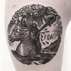 Horse Tattoo by Massimo Gurnari #horse #stab #dagger stabbingdagger #blackwork #illustrative #darkart #etching #linework #MassimoGurnari