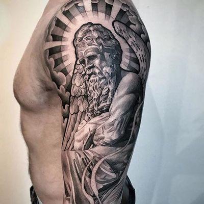 An illustration of God with angel wings and a radiant halo via Lil B (IG—lilbtattoo). #blackandgrey #God #LilB #realism #religious #RobinHernandez