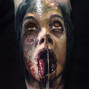 The nasty tongue cutting scene from the Evil Dead remake by Paul Acker (IG—paulackertattoo). #color #EvilDead #PaulAcker #portraiture