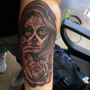 Catrina by Tommy Montoya #TommyMontoya #blackandgrey #catrina #rose #tattoooftheday