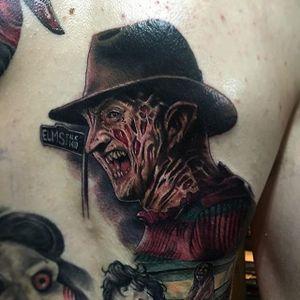 Freddy Krueger tattoo by Joe K Worrall. #realism #colorrealism #portrait  #FreddyKrueger #NightmareOnElmStreet #JoeKWorrall