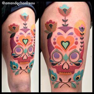 Por Amanda Chanfreau #AmandaChanfreau #gringa #colorida #colorful #funny #divertida #skull #caveira #cranio #flor #flower #coração #heart