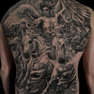 Healed & sealed back-piece by Carlos Torres #CarlosTorres #blackandgrey #realism #horse #lady #wings #tattoooftheday