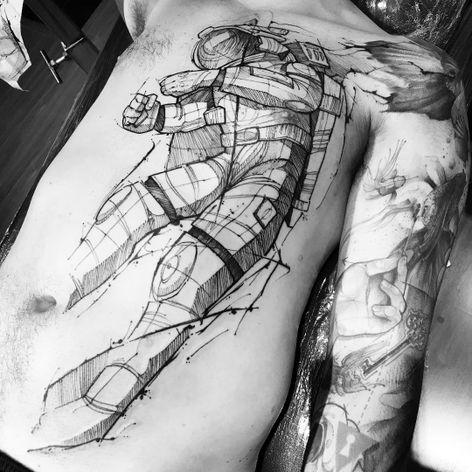 Astrounauta #LincolnLima #brazilianartist #brasil #brazil #tatuadoresdobrasil #sketchstyle #watercolor #aquarela #astronauta #astronaut #space #espaço