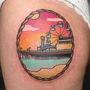 Coney Island tattoo by Meri #Meri #tattoosbymeri #newyorktattoo #color #traditional #newschool #mashup #landscape #beach #ConeyIsland #ferriswheel #amusementpark #fun #rollercoaster #rope