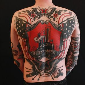 Ocean liner tattoo by Cris Cleen #CrisCleen #backpiecetattoos #color #traditional #ship #oceanliner #ocean #boat #eagle #wings #feathers #butterfly #flower #floral #leaves #americanflag #stars #cannon #arrows