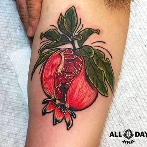 Pomegranate Tattoo by Jina @allday_jina #Jinatattooer #Alldaytattoo #Foodtattoo #SouthKorea #pomegranate