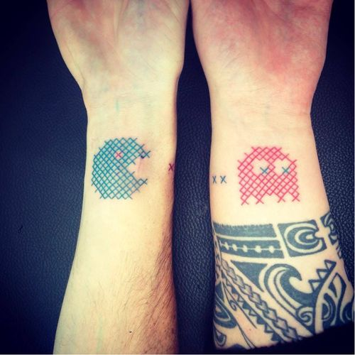 Matching Cross-stitch Pacman tattoo by Mariette #Mariette #crossstitch #pacman #matching #blueink #redink