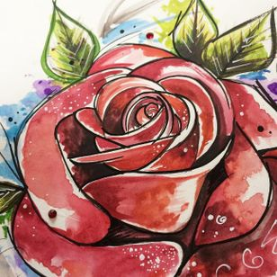 Rose tattoo design close-up by Angharad Chappell #AngharadChappell #rose #watercolour
