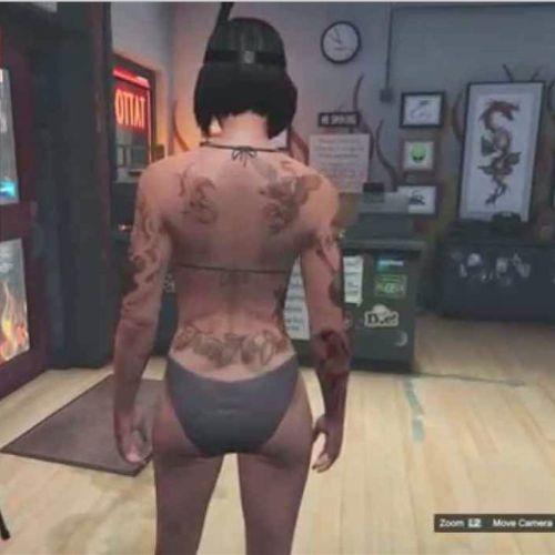 A shot of GTAV's tattoo parlor feature. #tattooedcharacters #videogames