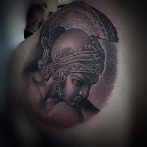 Roman warrior by Matt Bagwell #MattBagwell #xskinnyx #portrait #Roman #warrior #soldier #helmet #realism #realistic #hyperrealism #decoration #portrait #blackandgrey #tattoooftheday