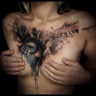Eye tattoo by Florian Karg #Florian Karg #trashstyle #trashart #trash #trashpolka #realistic #dark #horror #graphic #eye #lettering
