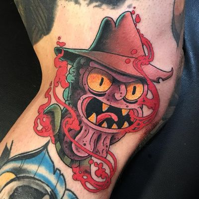 Scary Terry tattoo by Jacob Wiman #JacobWiman #rickandmortytattoos #rickandmorty #scaryterry #color #newtraditional #neotraditional #balls #horror #scifi #adultswim #cartoon