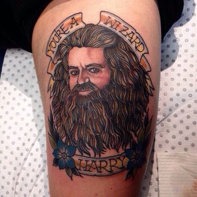 A cheeky traditional portrait of Hagrid by an unkown artist. #Hagrid #HarryPotter #traditional