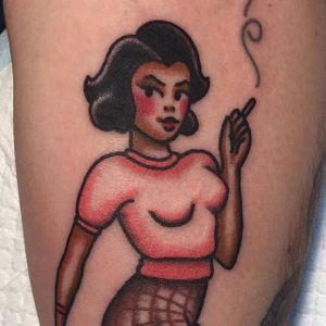 Audrey Horne, is that you? by Jaclyn Rehe (via IG-jaclynrehe) #americantraditional #pinup #audreyhorne #TwinPeaks #cigarette #color #JaclynRehe #ChapelTattoo