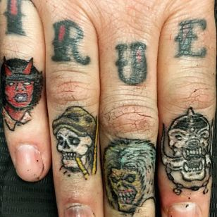 Rock 'n' roll finger tattoos by Allan Graves #AllanGraves #music #acdc #ironmaiden