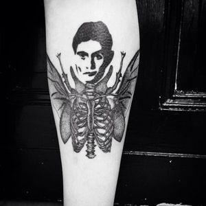 A grim portrait of Franz Kafka by Milena Kirsche (IG—milenakirsche). #blackwork #FranzKafka #literarytattoo #MilenaKirsche #TheMetamorphosis