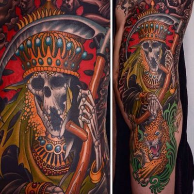 A king reaper and a leopard by Peter Lagergren (IG—peterlagergren). #traditional #reaper #leopard #PeterLagergren