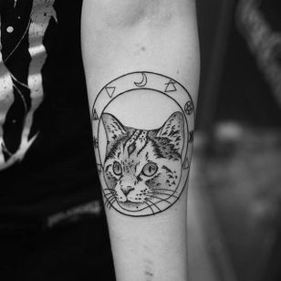 Occult cat tattoo by Elisabet Waris. #blackwork #linework #ElisabetWaris #occult #cat