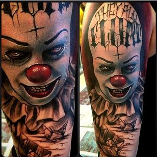 Wicked looking contemporary piece using various elements of the movie from Tribute Tattoo Parlour #Pennywise #IT #StephenKing #clown #reboot #TimCurry #horror #realism #TributeTattooParlour