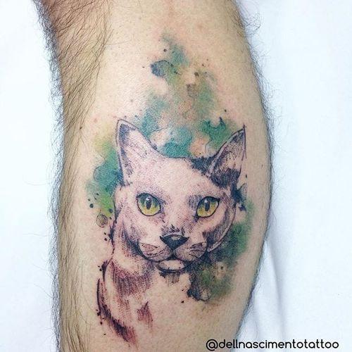 Cat Tattoo by Dell Nascimento #cat #watercolor #watercolorartist #contemporary #DellNascimento