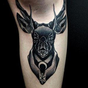 Deer Head Tattoo by Moises Jimenez @thecrocodile666 #MoisesJimeneztattoo #Black #Blackwork #Blacktattoo #Deer