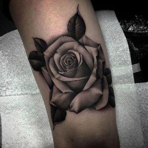 Excellent shading on this delicate rose tattoo by Bobby Loveridge @bobbalicious_tattoo #black #blackandgray #churchyardtattoostudio #uk #rose