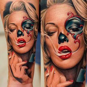Dia de los Muertos tattoo by Khan. #sugarskull #dayofthedead #skull #colorrealism #skullcandywoman #khan