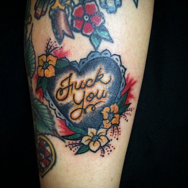 Old school Fuck You Heart Tattoo by Felipe Murasaki @FelipeMurasaki #FelipeMurasakiTattoo #Oldschool #Heart #FuckYou #FuckYouTattoo