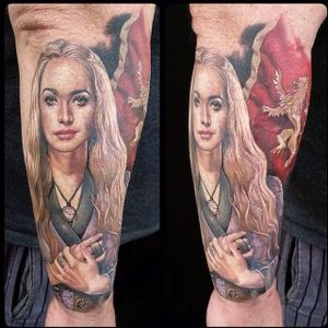 Cersei Lannister tattoo by Wyld Chyld Tattoo. #gameofthrones #GOT #tvshow #lannister #houselannister #cerseilannister #colorrealism